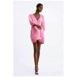 NEW Zara Buttoned Playsuit Romper Pink Size XS